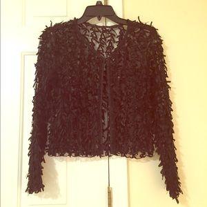 Sheer black cardigan with ribbon detailing